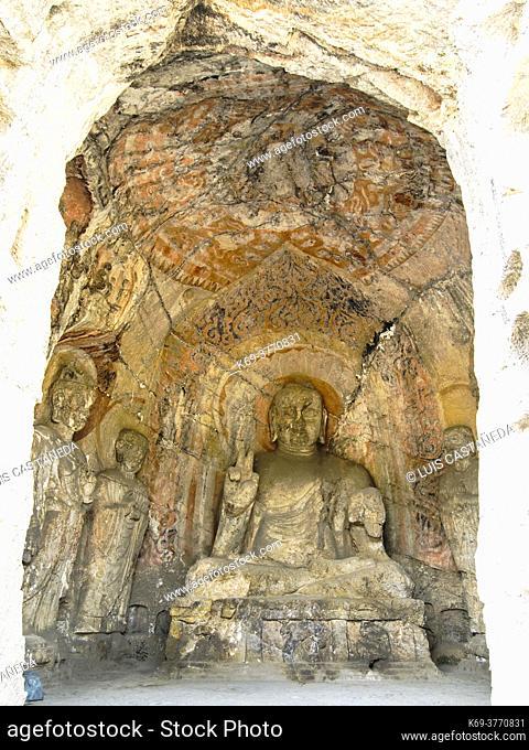 Amitabha. Main wall of Biyangbeidong Cave. . Dating from Zhenguan Era to Yonghui Era of Tang Dynasty (627-655). . The grottoes were started around the year 493...