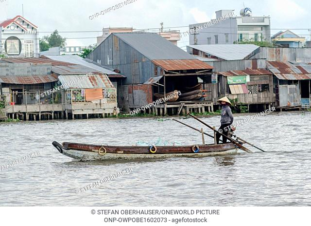 Vietnam, Can Tho, boat in the floating villages of the Mekong Delta of Vietnam