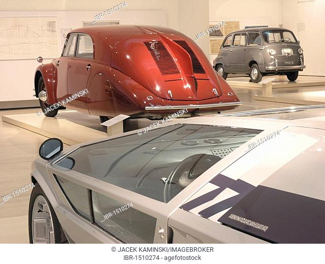 Maserati 310bhp in front of a Tatra Type 77, Mitomacchina exhibition, Museum of Modern Art, MART, Rovereto, Italy, Europe