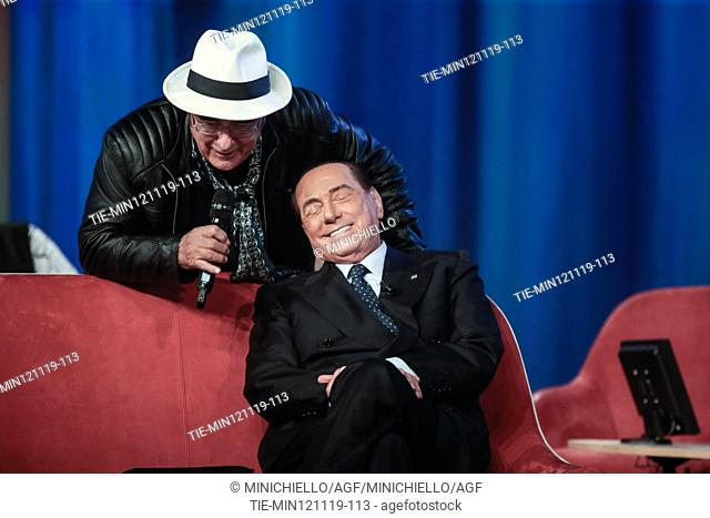 Singer Albano Carrisi and Former Italian premier and Forza Italia (FI) party leader Silvio Berlusconi during the recording of Canale 5 tv program 'Maurizio...
