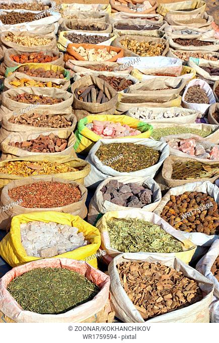 bags with spices on indian market