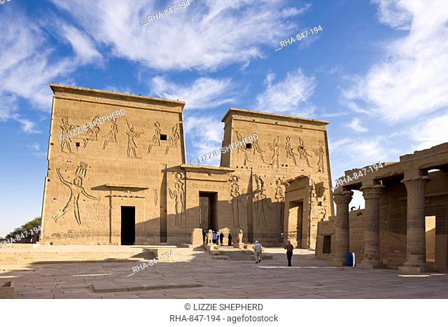 The first pylon and the Gate of Ptolemy at the Temple of Isis, Philae, UNESCO World Heritage Site, Nubia, Egypt, North Africa, Africa