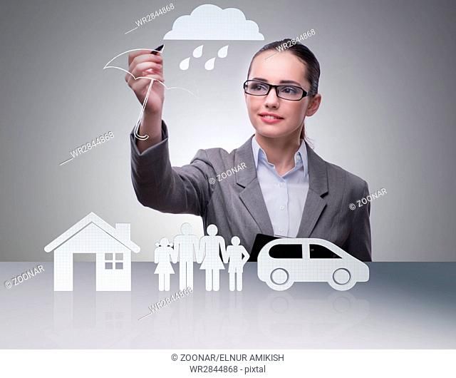 Young businesswoman in insurance concept