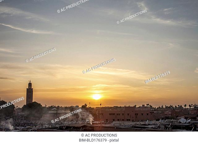 Sunrise over Marrakech landscape, Marrakesh-Asfi, Morocco