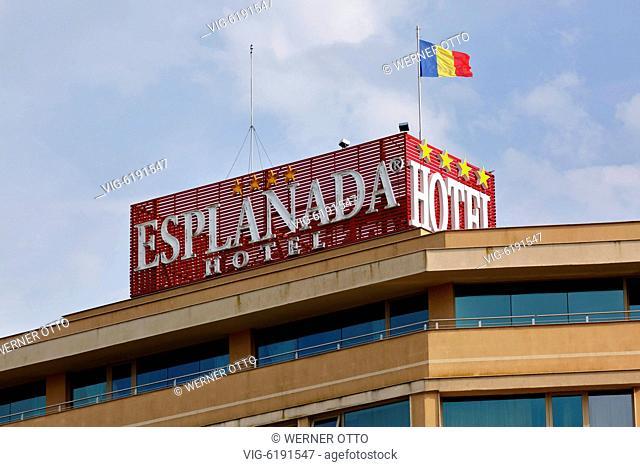 Romania, Tulcea at the Danube, Saint George branch, Tulcea County, Dobrudja, Gate to the Danube Delta, Esplanada Hotel, lettering and Romanian flag - Tulcea