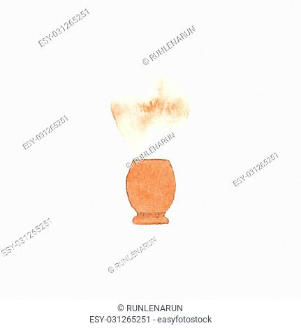 Barber brush. Watercolor brush on the white background, aquarelle. Barber shop. Vector illustration. Hand-drawn decorative element useful for invitations