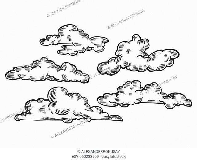 Clouds engraving vector illustration. Scratch board style imitation. Black and white hand drawn image
