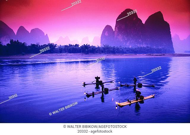 Cormorant fishermen. Li River. China