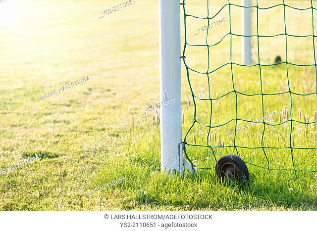 Green grass and goal post on a football (soccer) field
