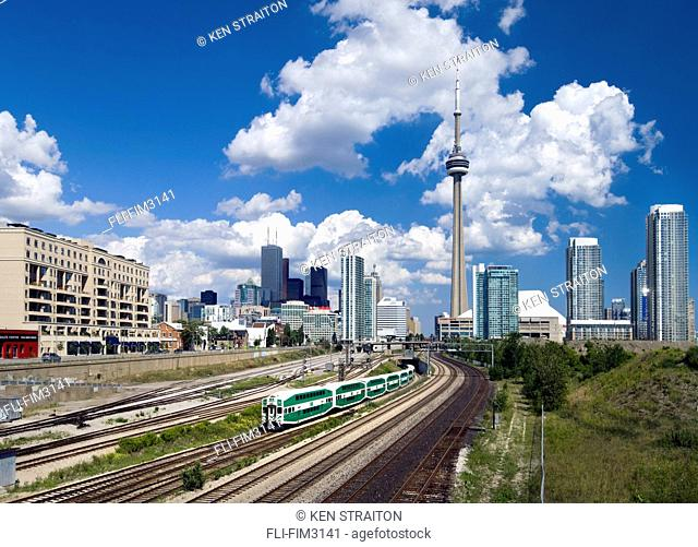 Downtown Skyline and GO Train looking east from Bathurst Street, Toronto, Ontario