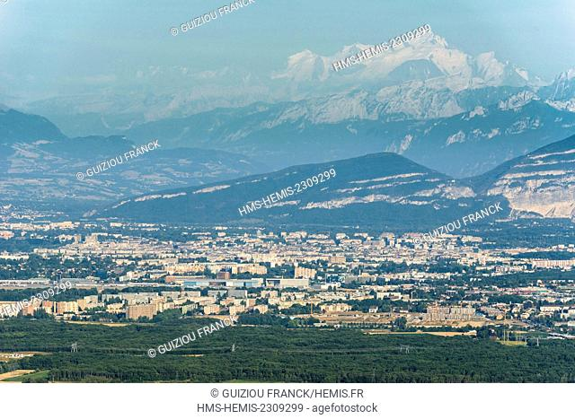 France, Ain, Pays de Gex, Jura High Chain Nature Reserve, the Pailly lookout offers a view over the Pays de Gex and the Alps dominated by Mont Blanc