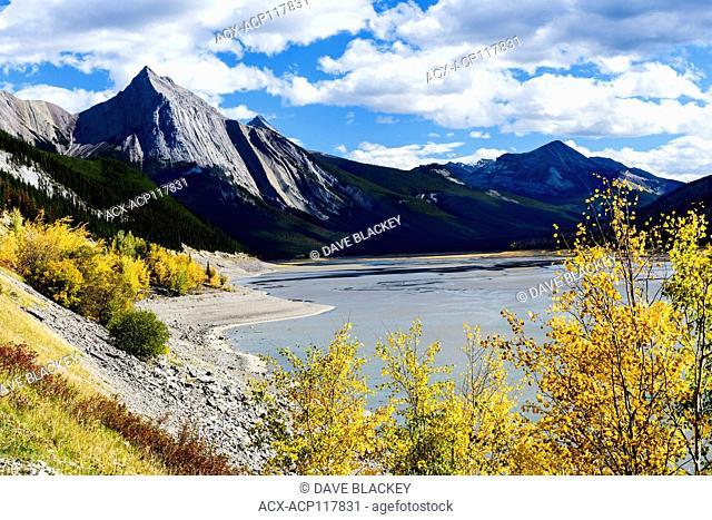 The Maligne mountain range and Medicine Lake in Jasper National Park near Jasper, Alberta