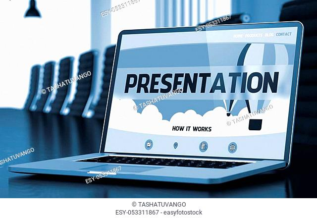 Closeup Presentation Concept on Landing Page of Mobile Computer Display in Modern Conference Hall. Toned Image. Selective Focus. 3D Illustration