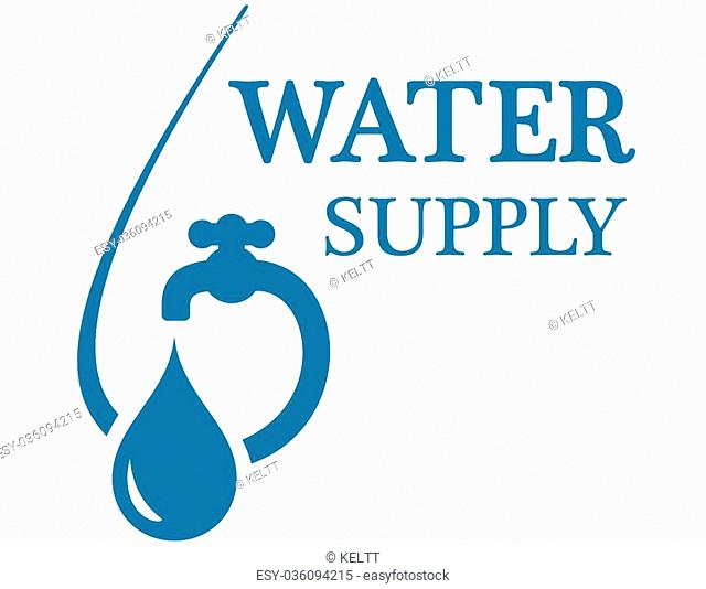 blue water supply concept icon with faucet silhouette