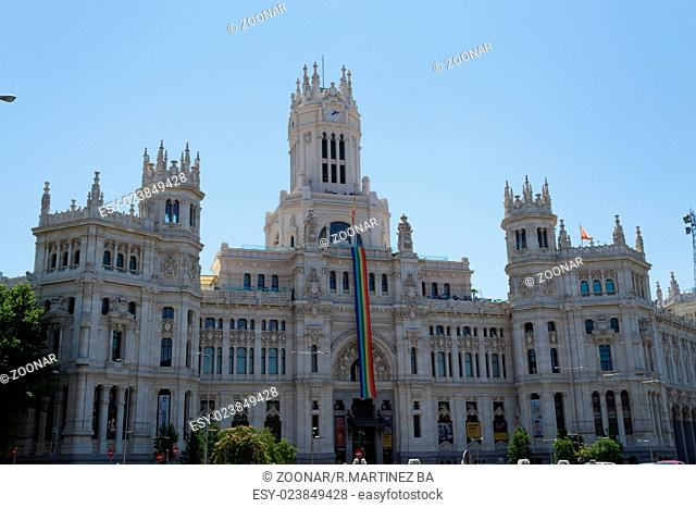 Gay pride flag at the city hall of Madrid