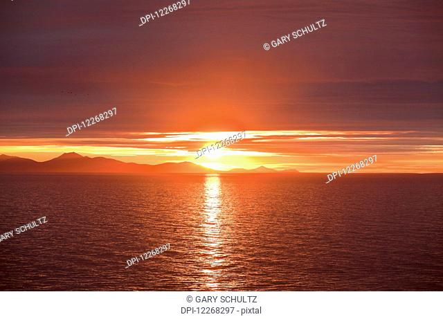 Sunrise over Bristol Bay and Ahklun Mountains, Togiak National Wildlife Refuge and Walrus Islands State Game Sanctuary, Round Island, Bristol Bay