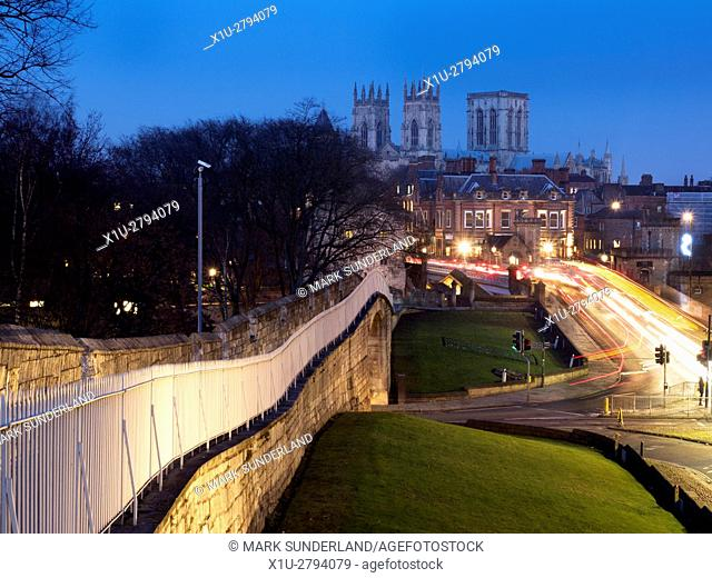 Looking along the City Wall over lendal Bridge to the Minster City of York Yorkshire England