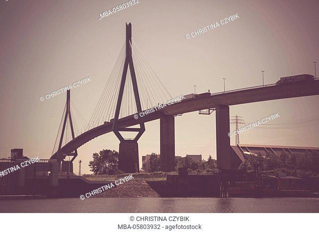 harbour tour in Hamburg: view to the Köhlbrandbrücke behind the 'Burchardkai'
