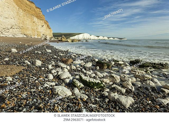 The coast of East Sussex, England. Seven Sisters cliffs in the distance