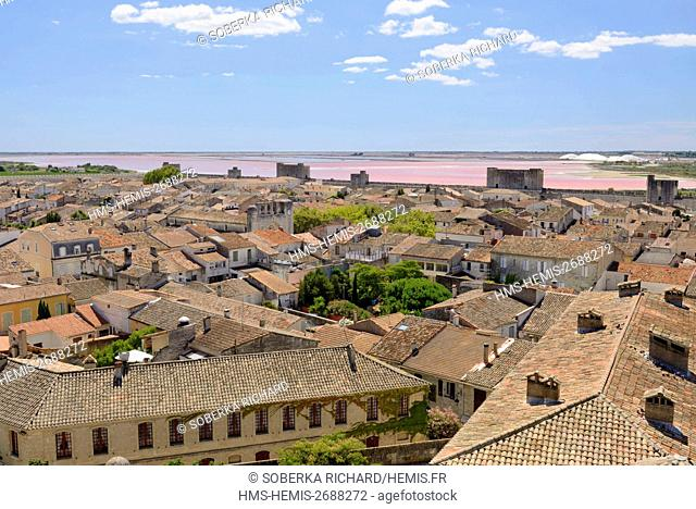 France, Gard, Aigues Mortes, view over the old city and salt marshes from the Constance tower