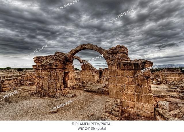 Ruins of an ancient byzantine castle in Paphos archaeological complex, Cyprus