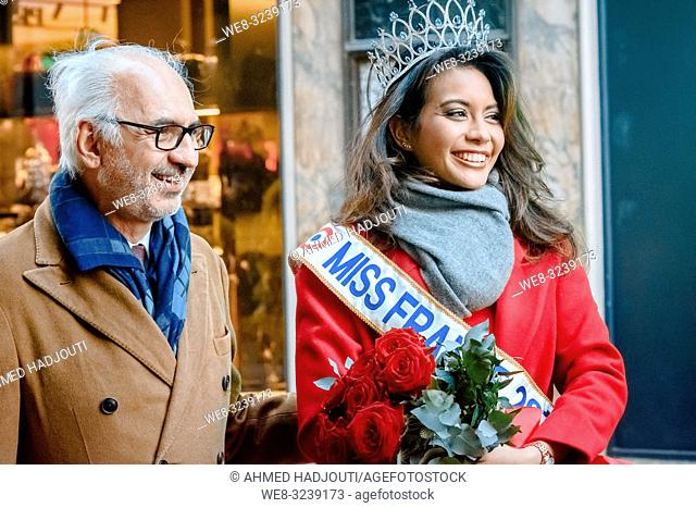 PARIS, FRANCE - February 07 : President of Le Printemps Paolo de Cesare and Miss France Vaimalama Chaves attend the Chinese new year celebration at Printemps...