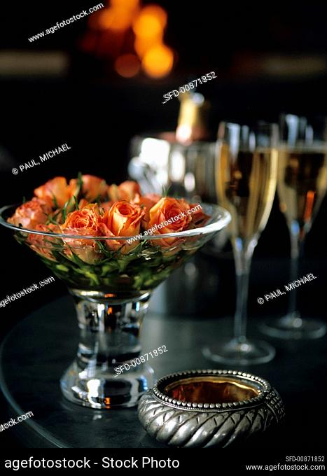 Bowl of roses and champagne