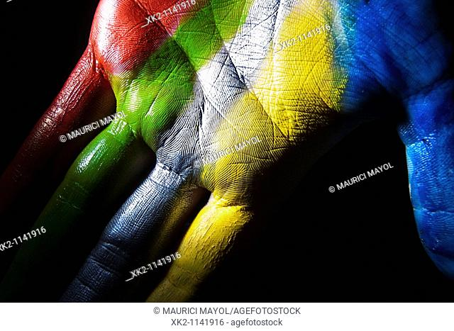 Colourful painted hand