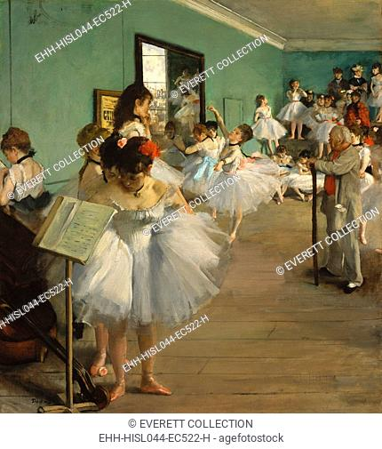 The Dance Class, by Edgar Degas, 1873, French impressionist painting, oil on canvas. Over twenty women, ballerinas and their mothers