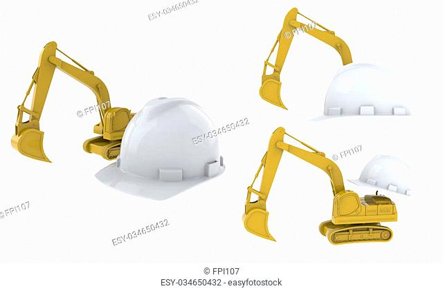The excavator and the helmet isolated on white