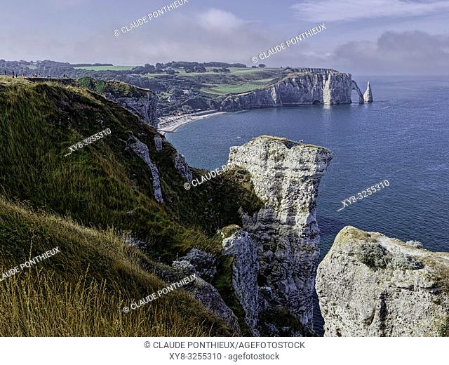 View from the Porte d'Amont Cliffs with the Falaise d'Aval in the background, Étretat; Normandy; France