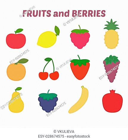 Fruits and berries icons with outline, icons set