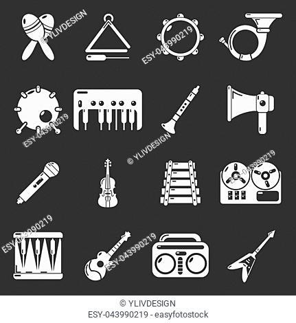 Musical instruments icons set white isolated on grey background