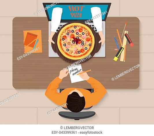 Online pizza order concept illustration. Delivery man hands with pizza from laptop