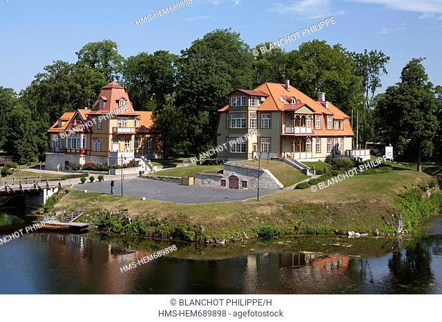 Estonia Baltic States, Saare Region, Saaremaa Island, Kuressaare, beautiful houses of wood