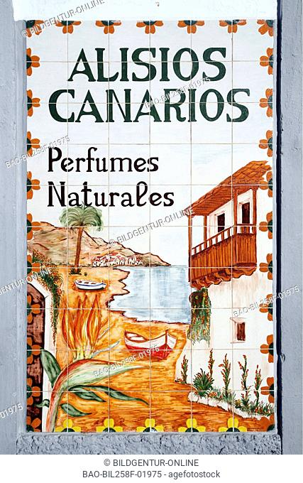 Ceramics advertisement in the mountain village of Teror in the centre of the island grain Canaria on the Canary islands in the Atlantic, Spain