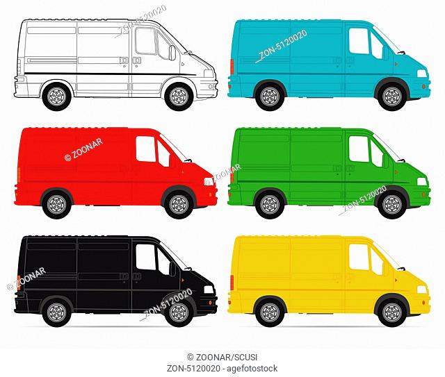 Delivery Vans on white background