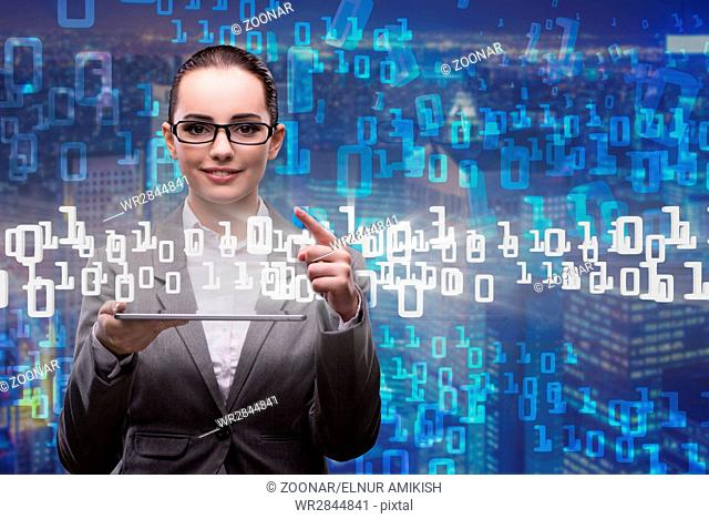 Woman in data management concept with tablet