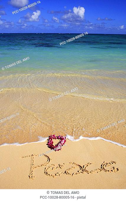 Hawaii, Turquoise ocean waters, foaming shore water, orchid lei, Peace written in sand