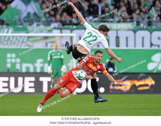 13 April 2018, Germany, Fuerth:Soccer, Second Bundesliga, SpVgg Greuther Fuerth vs Jahn Regensburg at Sportpark Ronhof Thomas Sommer: Fuerth's Marco Maloca...