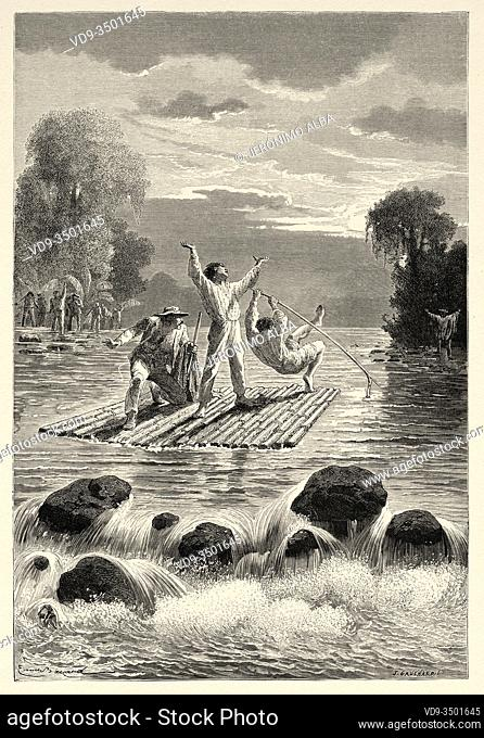 The Siriniris Indians passing the Ccoñi River, Peru. South America. Trip to the Valley of the Quinas by Paul Marcoy. Old engraving El Mundo en la Mano 1878
