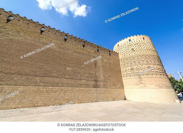 Walls of Castle of Karim Khan citadel (Arg-e Karim Khan) build during Zand dynasty in Shiraz city, capital of Fars Province in Iran