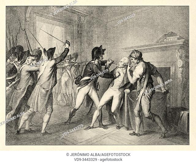 Arrest of Robespierre on July 27, 1794. French Revolution 18th century. History of France, old engraved illustration image from the book Histoire contemporaine...