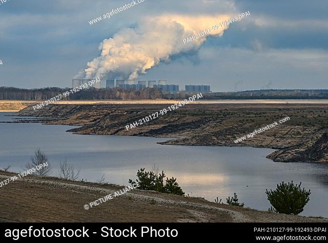 26 January 2021, Brandenburg, Cottbus: There is only a little water in the former Cottbus-Nord opencast lignite mine, the future Cottbus Baltic Sea