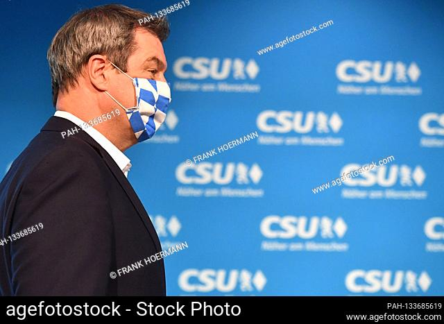 Markus SOEDER (Minister President Bavaria and CSU Chairman) with mouth-nose protection, mouth protection, mask. sideways, in profile, single image