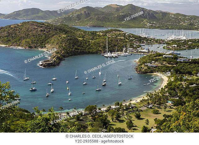 Antigua. View from Shirley Heights, Looking toward Freeman's Bay, Galleon Beach, and Nelson's Dockyard