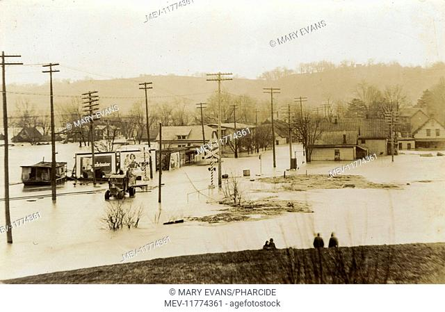 Flooding in George Street in a small American town