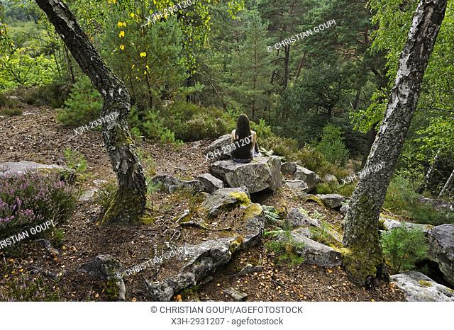 woman sitting on a rock at Rochers d'Angennes site in the Forest of Rambouillet, Haute Vallee de Chevreuse Regional Natural Park, Yvelines department