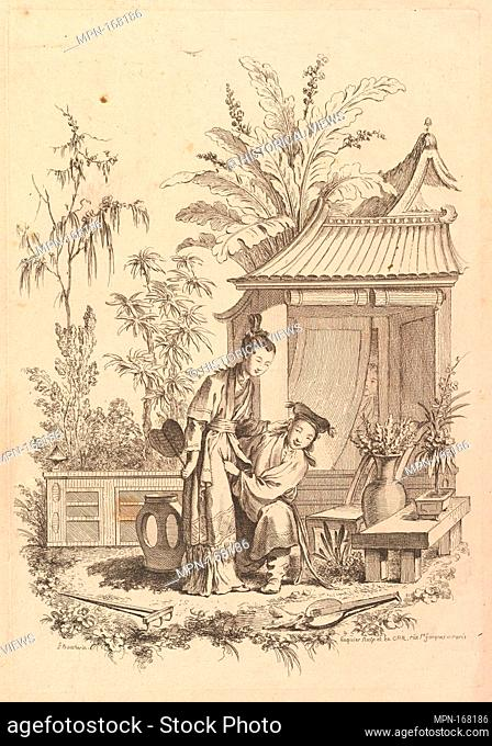 Chinoiserie scene with figures in a landscape. Artist: Gabriel Huquier (French, Orléans 1695-1772 Paris); Artist: After François Boucher (French