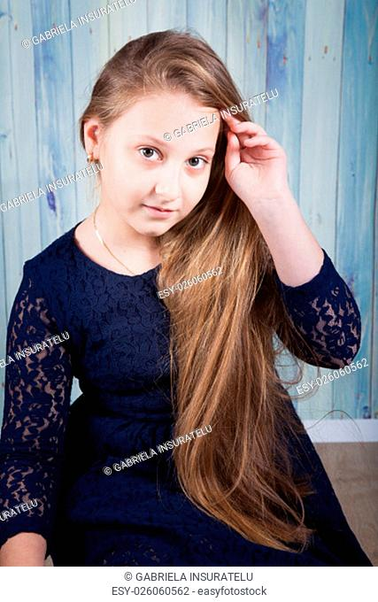 Portrait of a 10 year old girl, studio shot